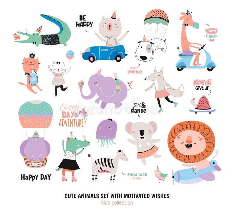 Animais engraçados bonitos e desejos motivado ajustados ilustração stock