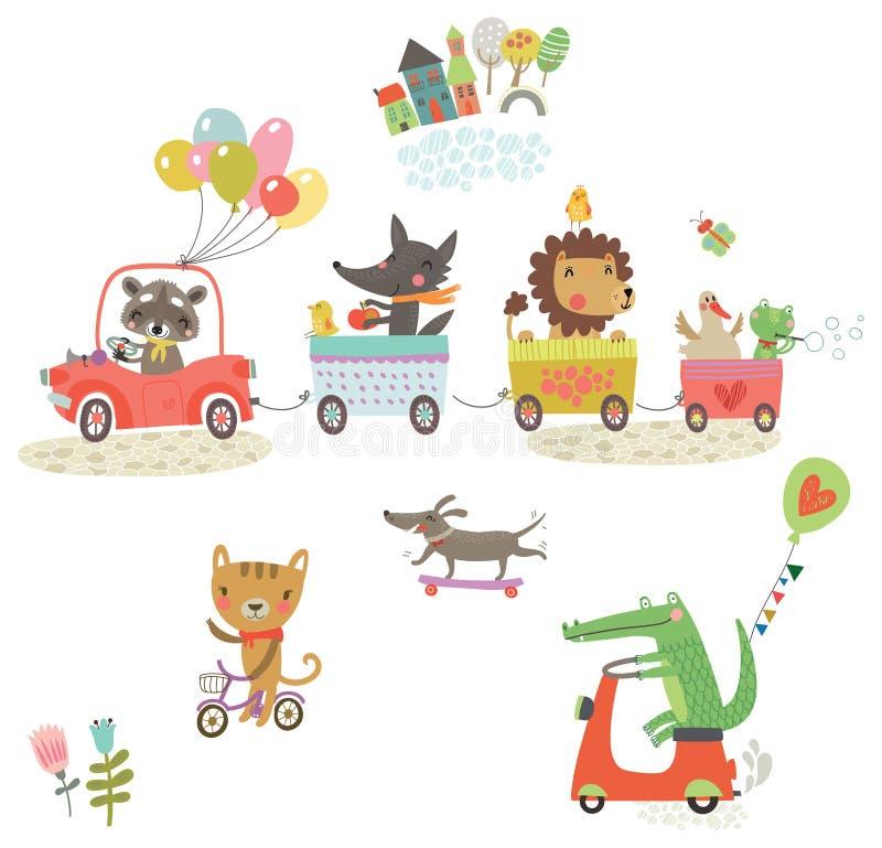 Animais engraçados Caminhada alegre Grupo do vetor ilustração royalty free