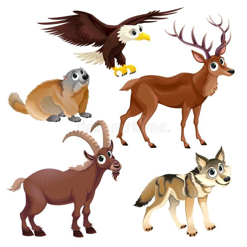 Animais engraçados da montanha ilustração royalty free