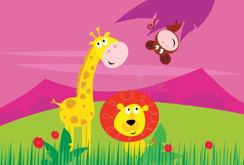 Animais engraçados de África da selva ilustração royalty free