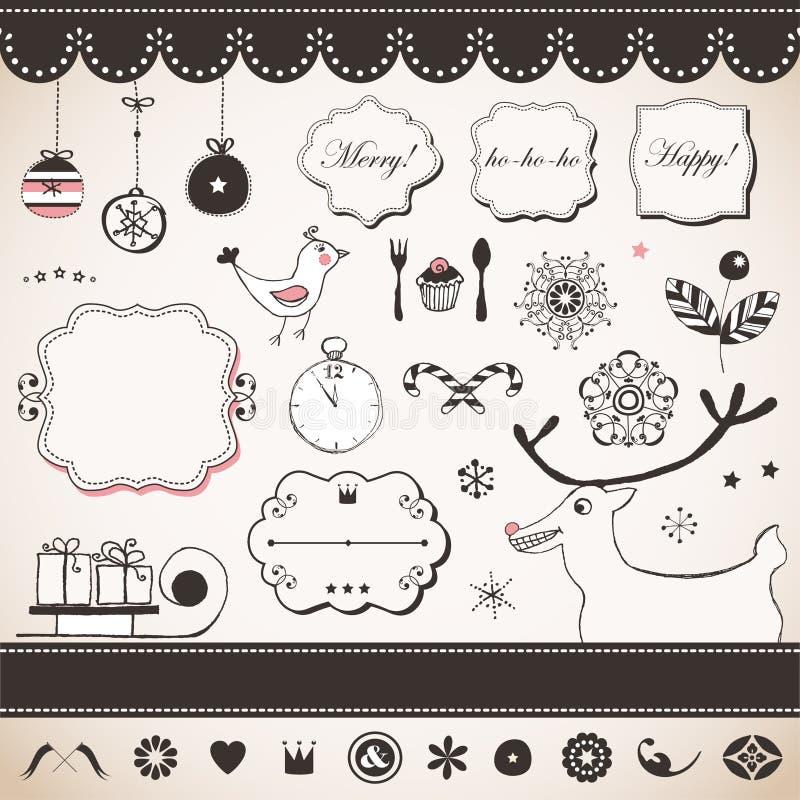 Download Grupo do Natal do vintage ilustração do vetor. Ilustração de clock - 29827334