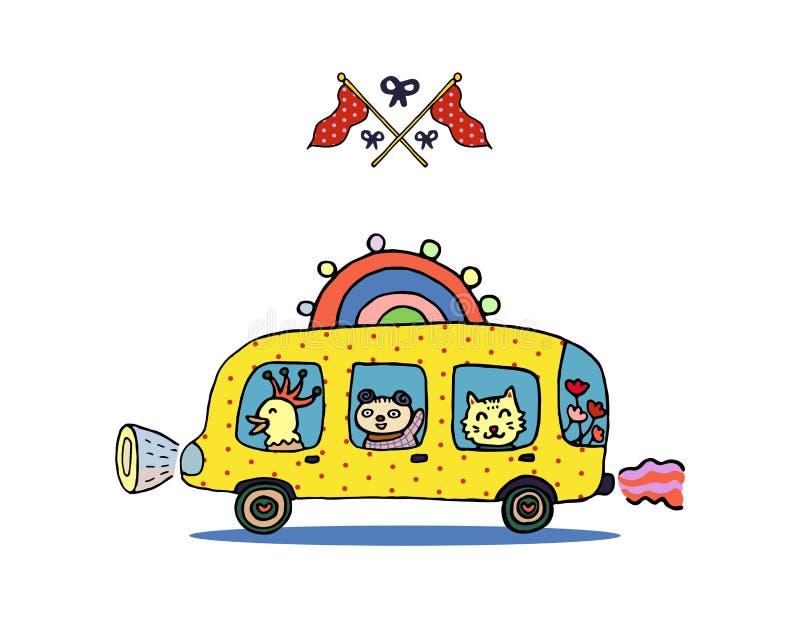 Animais engraçados em um ônibus escolar do arco-íris e em umas bandeiras cruzadas ilustração do vetor