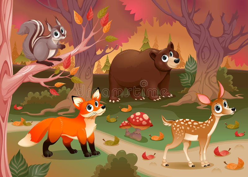 Animais engraçados na madeira ilustração stock