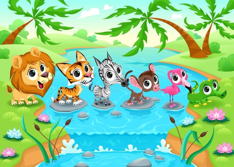 Animais engraçados na selva ilustração royalty free