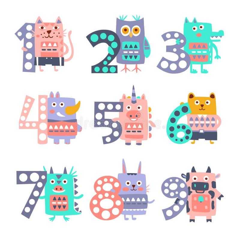 Animais funky estilizados que estão ao lado do grupo da etiqueta dos dígitos ilustração do vetor