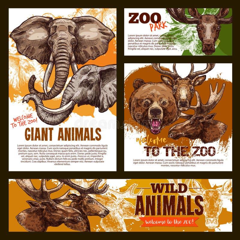 Animais gigantes selvagens do cartaz do esboço do jardim zoológico do vetor ilustração royalty free