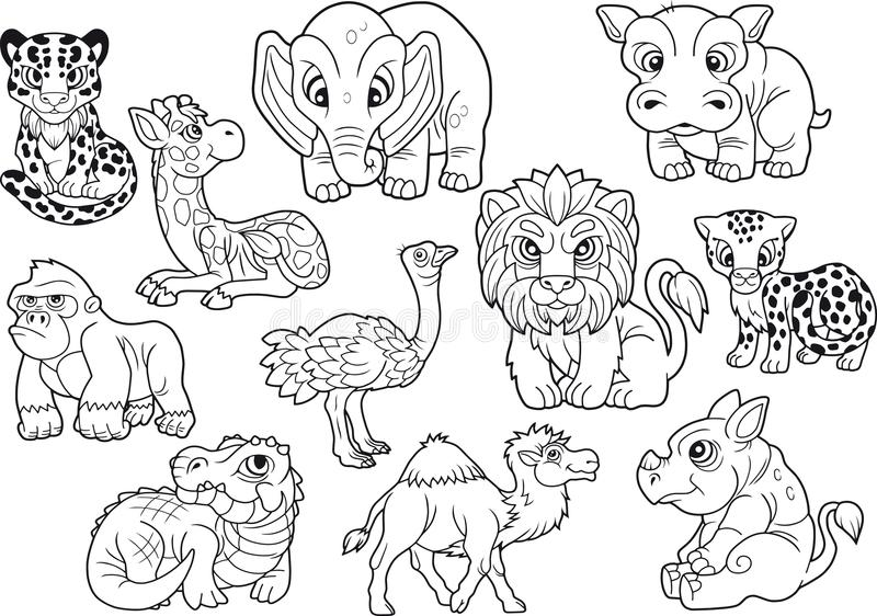 Animais, grupo de imagens bonitos do vetor, livro para colorir ilustração do vetor