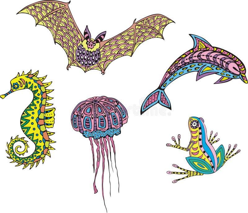 Animais heterogéneos estilizados ilustração royalty free