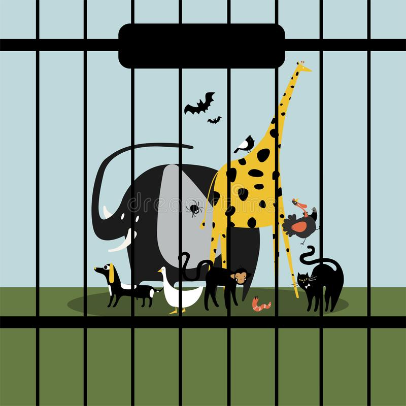 Animais insolúveis mantidos no captiveiro ilustração stock