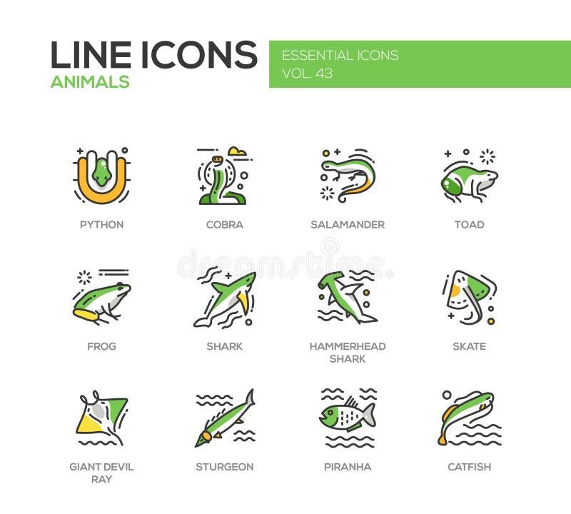 Animais - linha ícones do projeto ajustados ilustração royalty free
