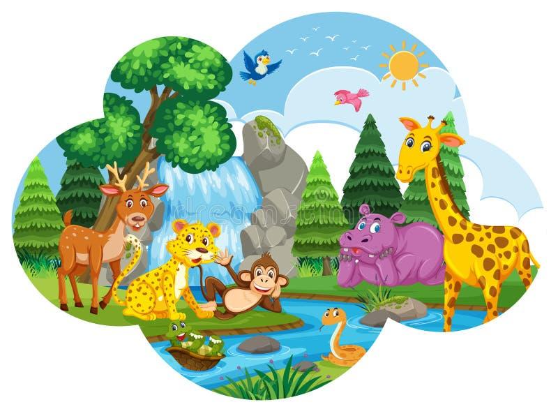Animais na cena da cachoeira ilustração royalty free