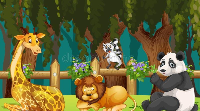 Animais na cena de madeira ilustração do vetor