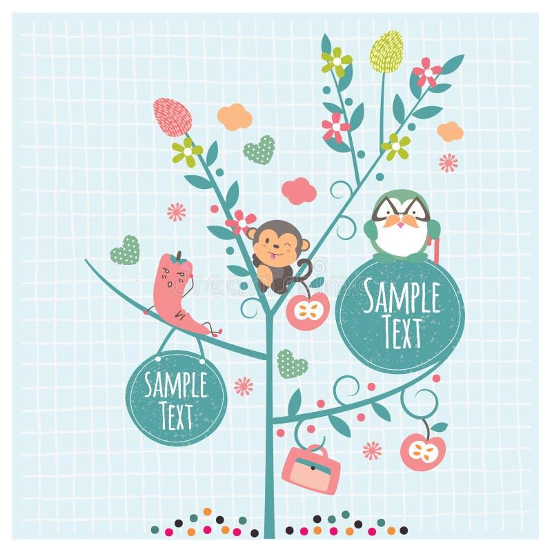 Animais na ilustração da árvore ilustração stock