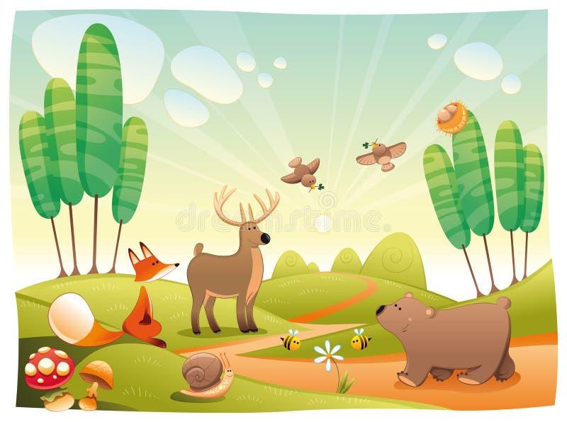Animais na madeira. ilustração do vetor