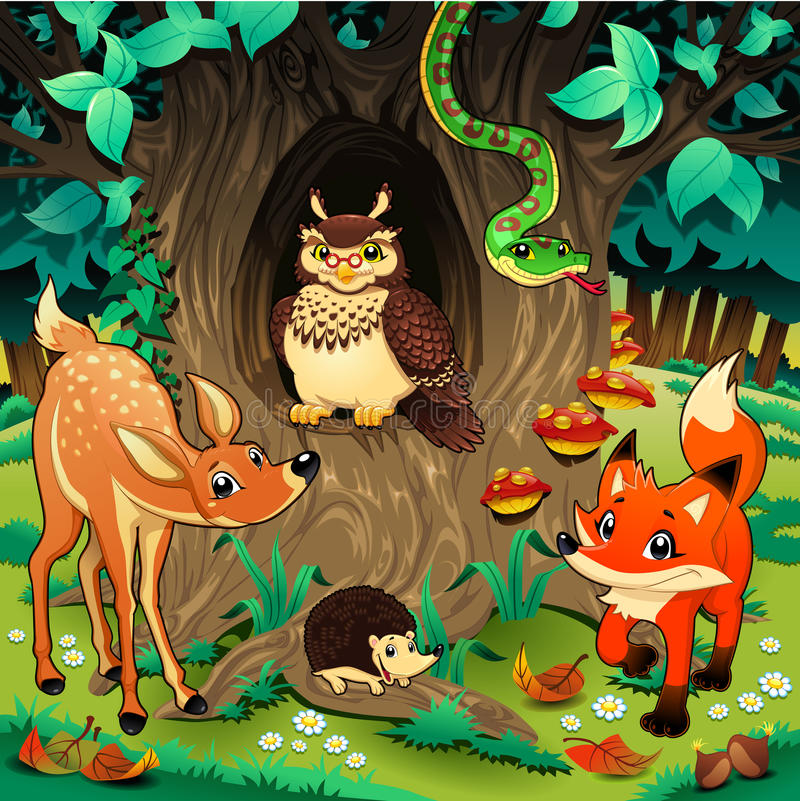 Animais na madeira. ilustração royalty free