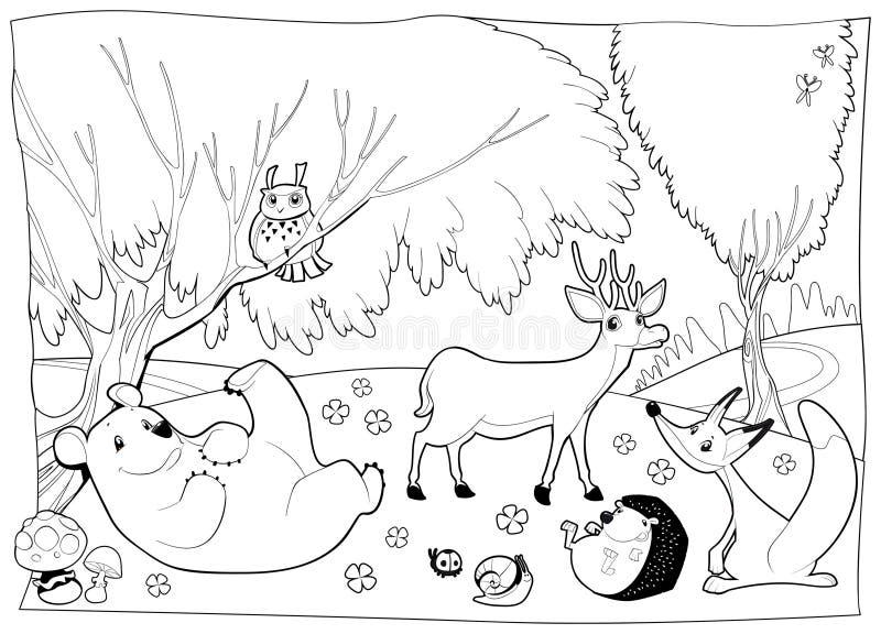 Animais na madeira, preto e branco. ilustração royalty free