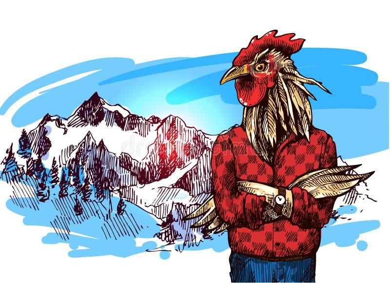 Animais nas montanhas ilustração royalty free