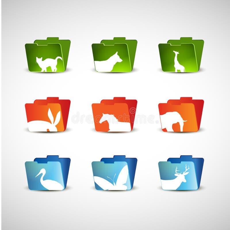 Animais no ícone do dobrador imagem de stock royalty free