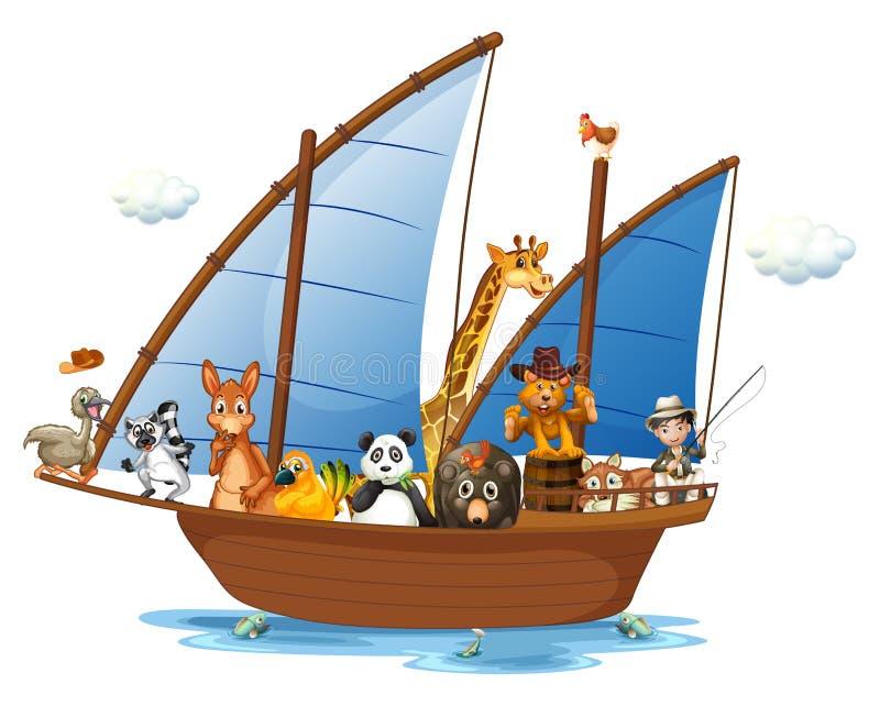 Animais no barco ilustração stock