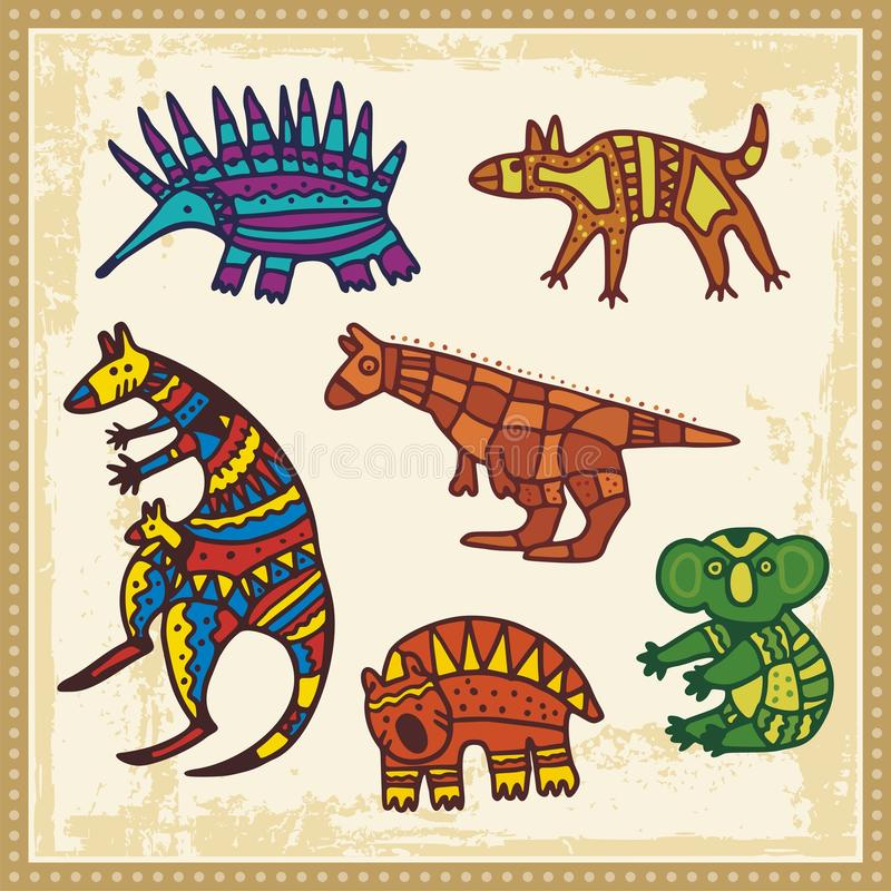 Animais no estilo aborígene australiano ilustração stock