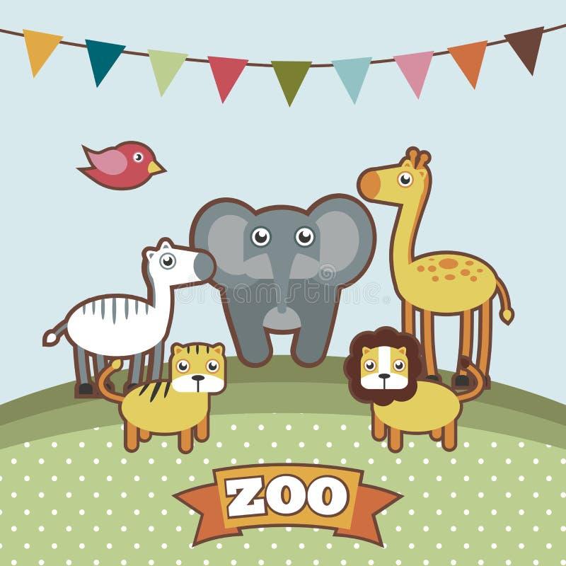 Animais no jardim zoológico ilustração do vetor