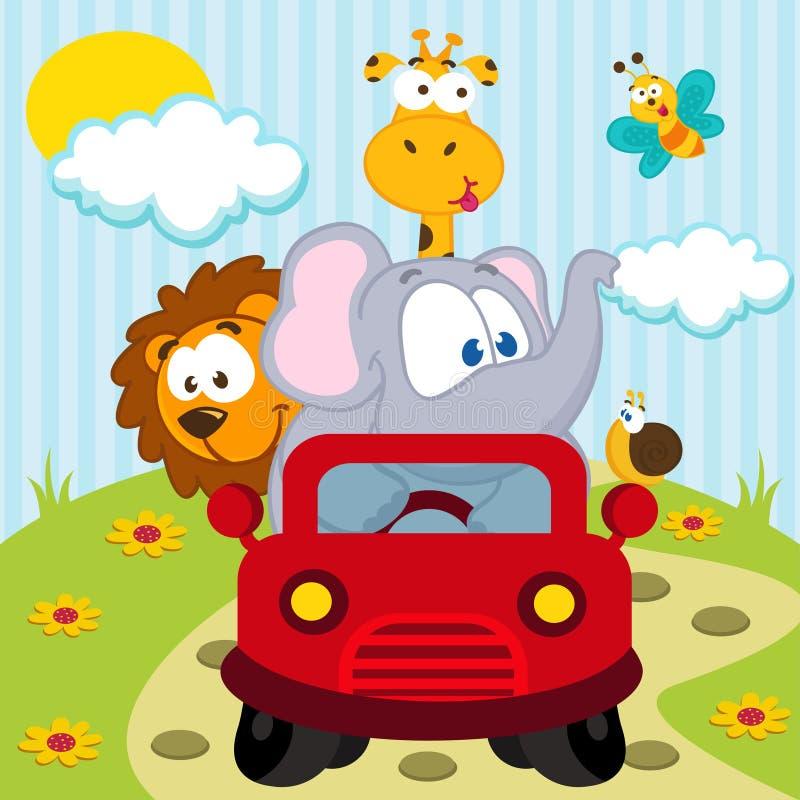 Animais pelo carro ilustração do vetor