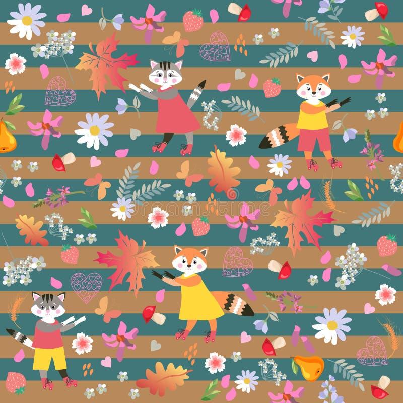 Animais pequenos bonitos em fundo listrado Teste padrão sem emenda do vetor com raposas engraçadas e os gatos alegres ilustração stock