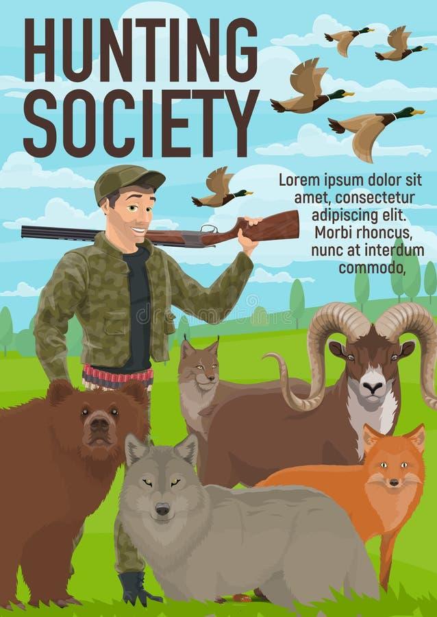 Animais que caçam a época de caça, clube do caçador ilustração stock