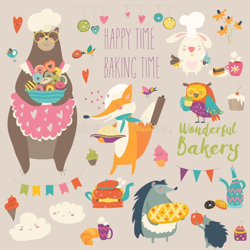 Animais que cozem os doces ilustração royalty free