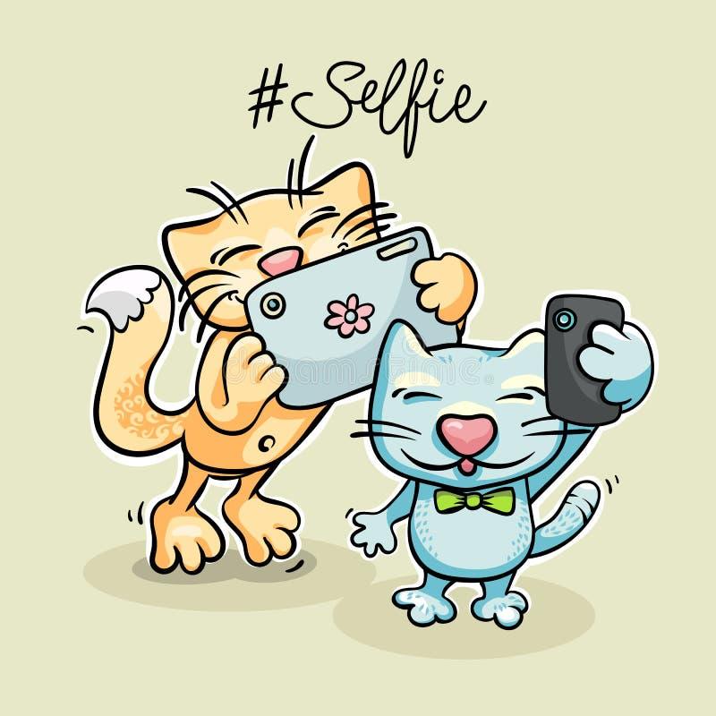 Animais que tomam a foto do selfie no telefone esperto ilustração royalty free