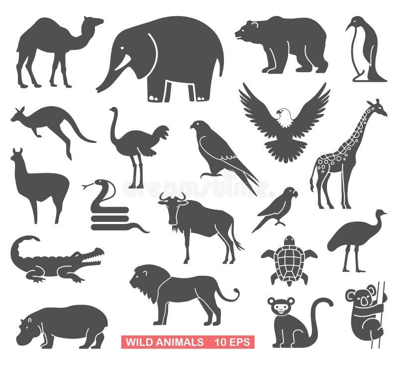 Animais selvagens ajustados ilustração do vetor