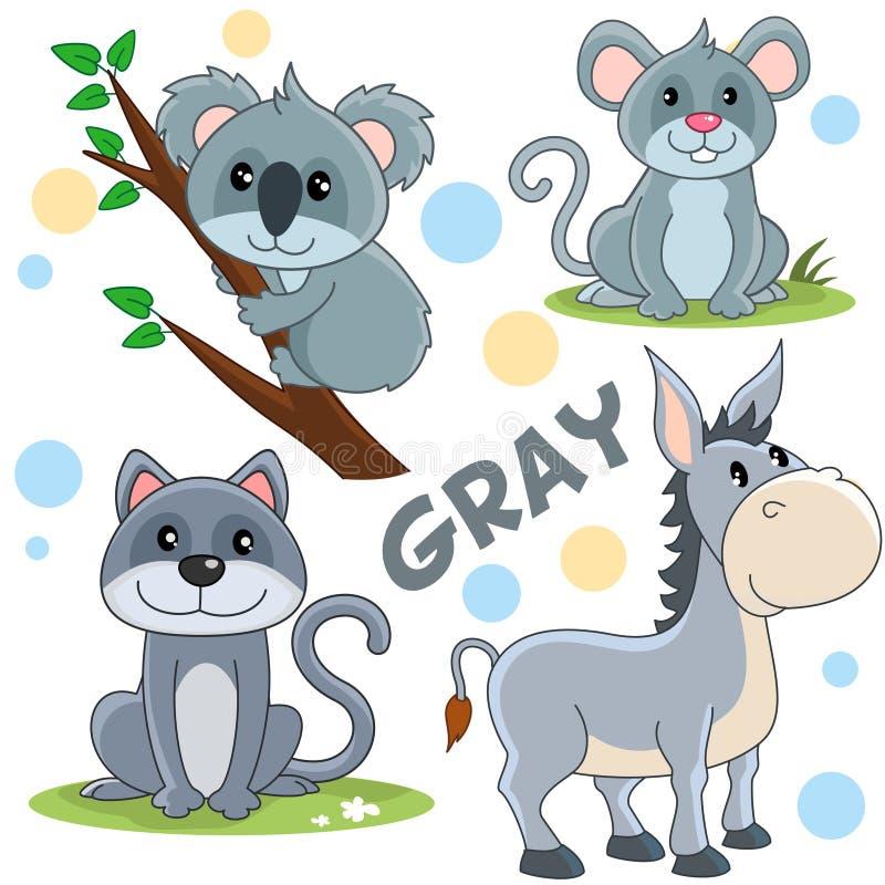 Animais selvagens da cor cinzenta 2 ilustração royalty free