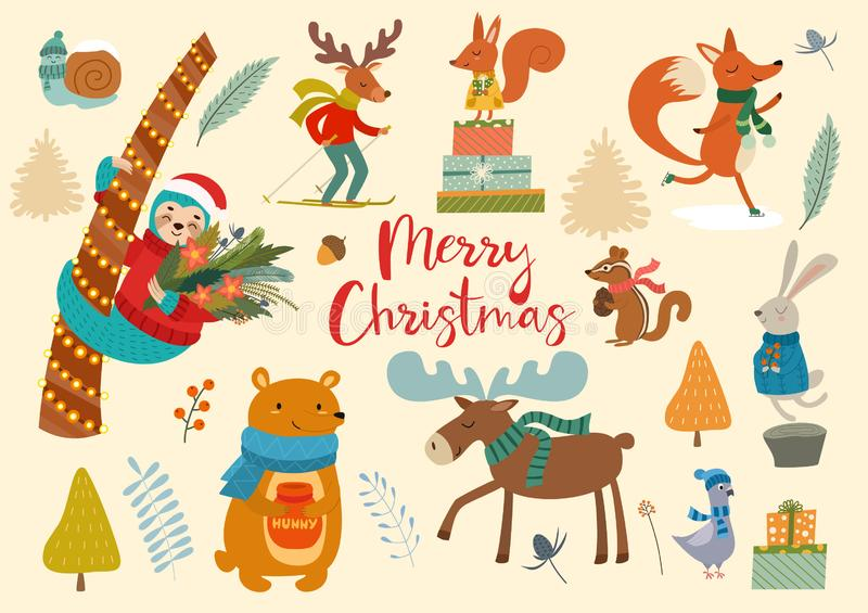 Animais selvagens do inverno bonito e elementos florais Ideias para cartão e cartazes Graphhics do vetor Cartão do Feliz Natal ilustração royalty free