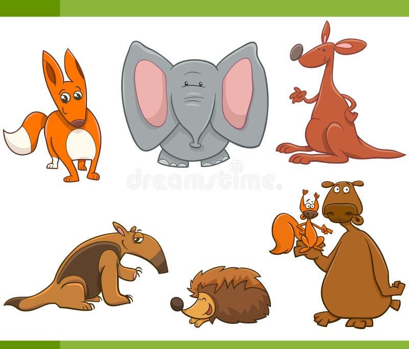 Animais selvagens dos desenhos animados ajustados ilustração stock
