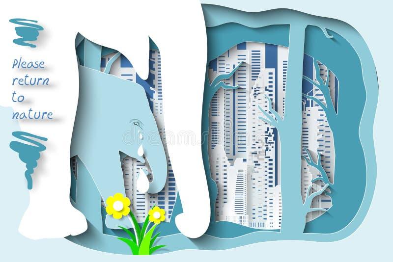 Animais selvagens e floresta no fundo da cidade como por favor o retorno ao conceito da floresta ilustração royalty free