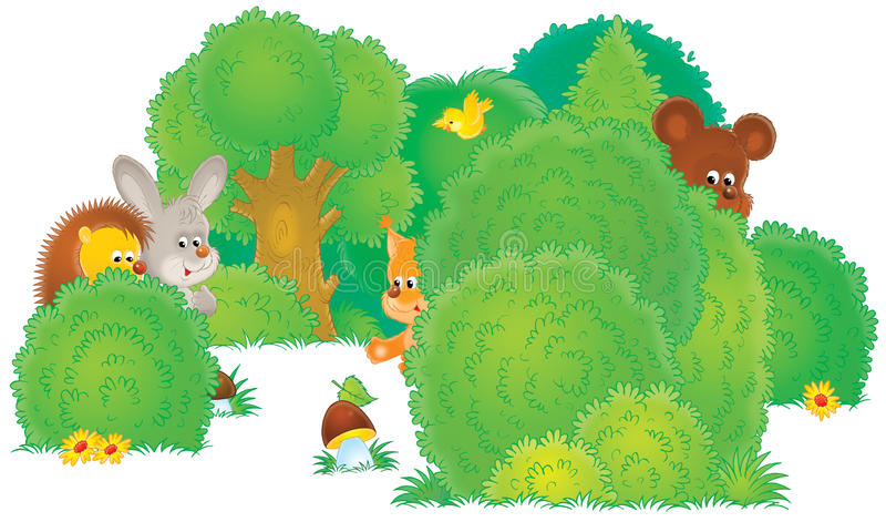 Animais selvagens em uma floresta ilustração royalty free