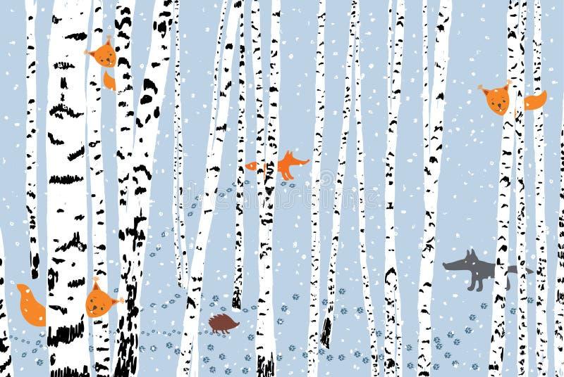 Animais selvagens em uma floresta do inverno ilustração stock