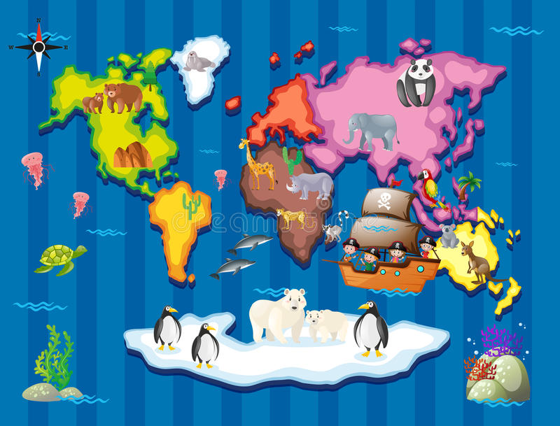Animais selvagens na parte diferente do mundo ilustração royalty free