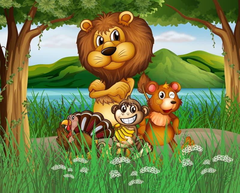 Animais selvagens na selva ilustração royalty free