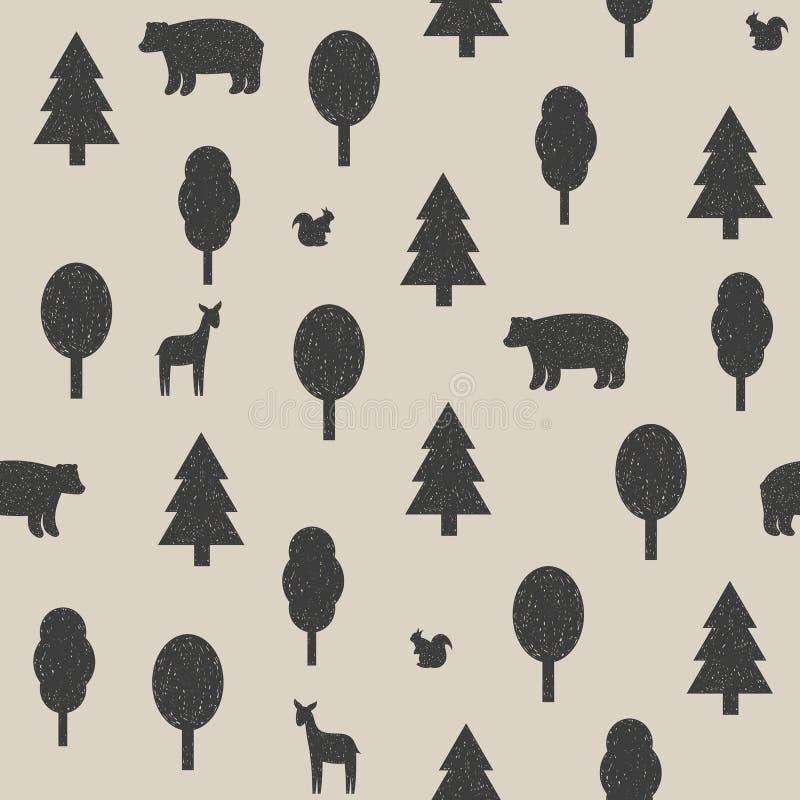 Animais selvagens no teste padrão da floresta ilustração stock