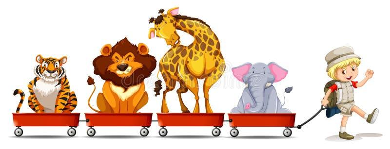 Animais selvagens no vagão vermelho ilustração royalty free