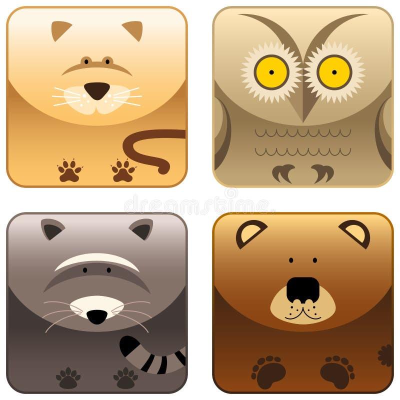Animais selvagens - o ícone ajustou 3 ilustração do vetor