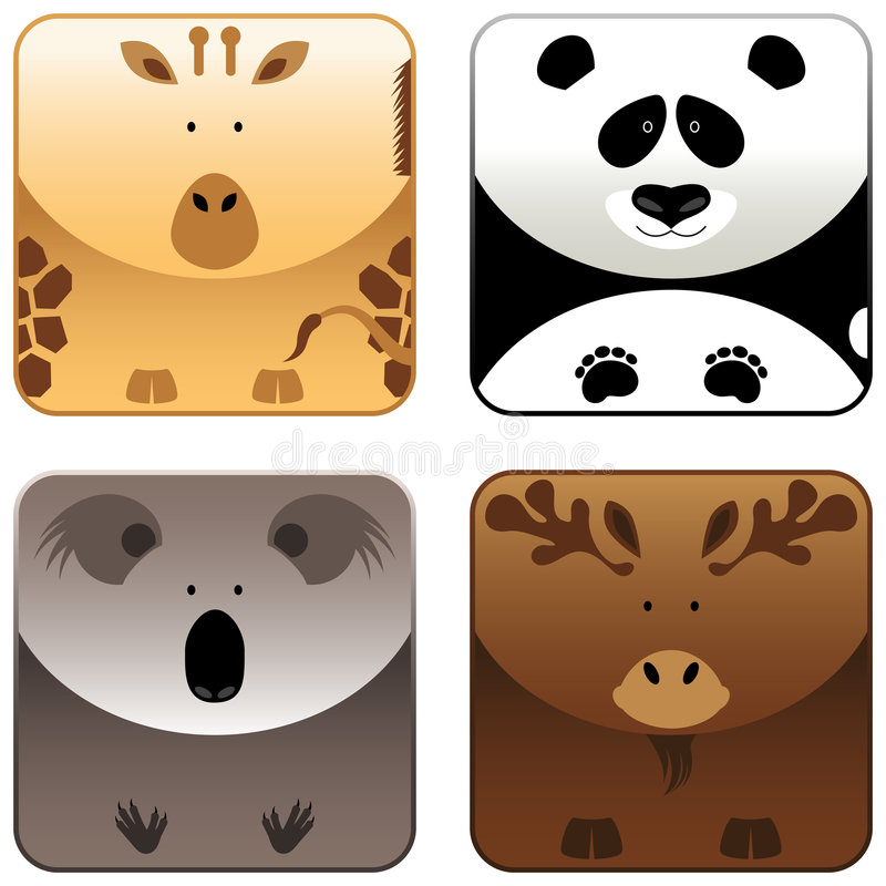 Animais selvagens - o ícone ajustou 4 ilustração royalty free