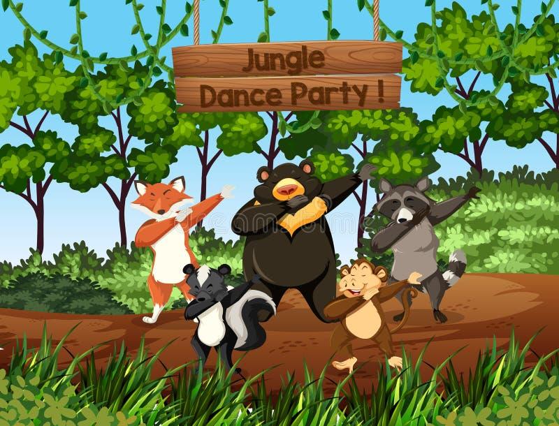 Animais selvagens que dançam na selva ilustração do vetor