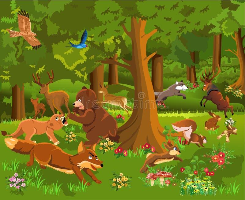 Animais selvagens que lutam na floresta ilustração do vetor