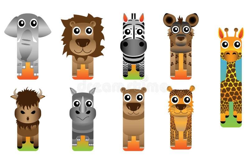 Animais selvagens Safari Animal Bookmark Style ilustração royalty free