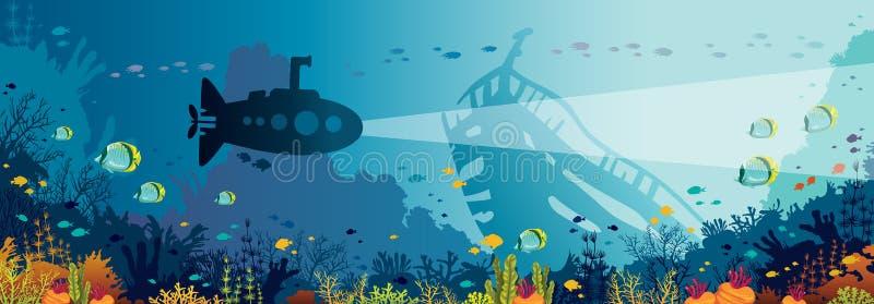 Animais selvagens subaquáticos - recife de corais, peixe, submarino, navio afundado ilustração stock