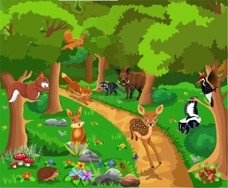 Animais selvagens vivificantes na floresta: uma raposa que persegue afastado um cervo da jovem corça ilustração stock