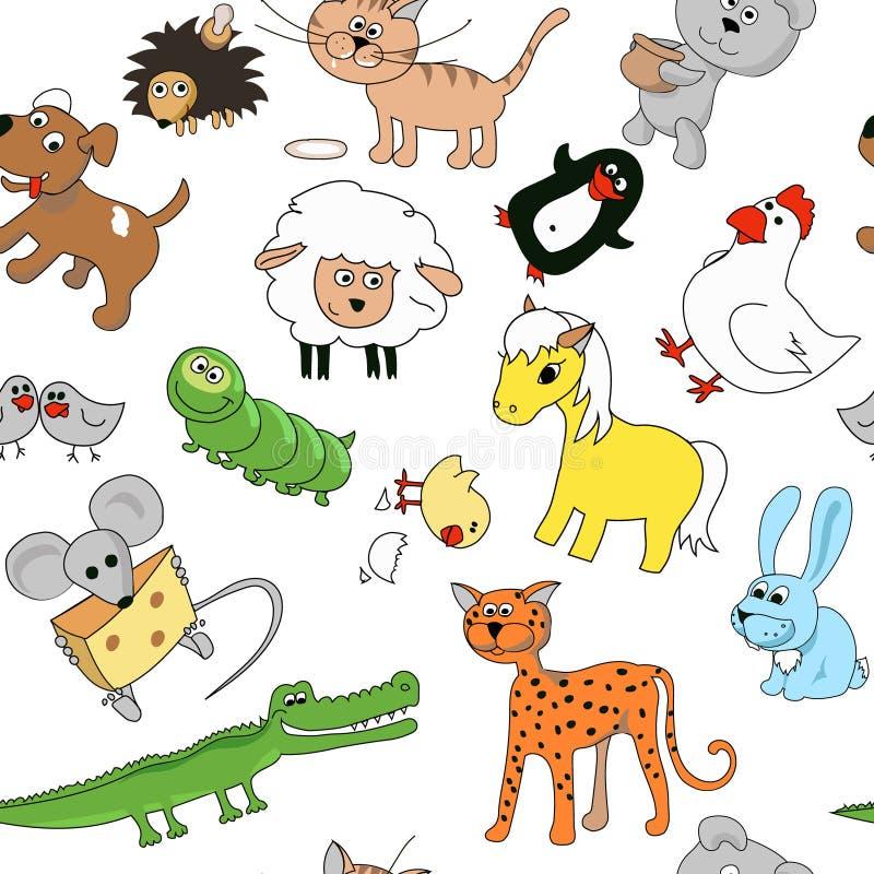 Animais sem emenda do teste padrão dos desenhos das crianças urso, leopardo, lagarta e rato, ilustração stock