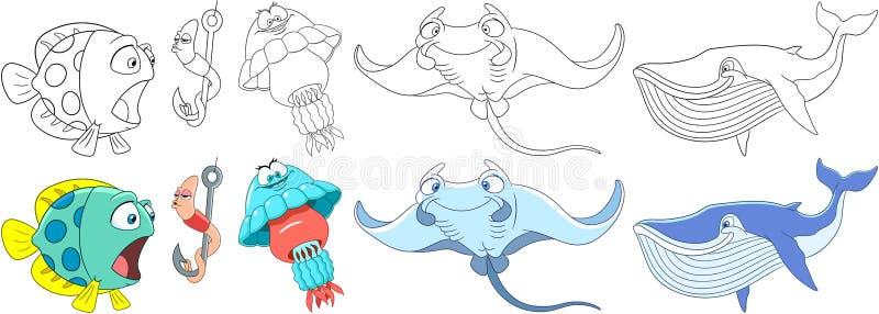 Animais subaquáticos dos desenhos animados ajustados ilustração royalty free